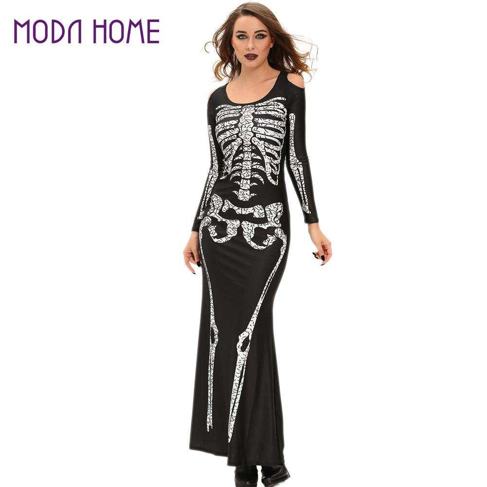 Halloween Wedding Gowns Women Skeleton Dress Shoulder Cut