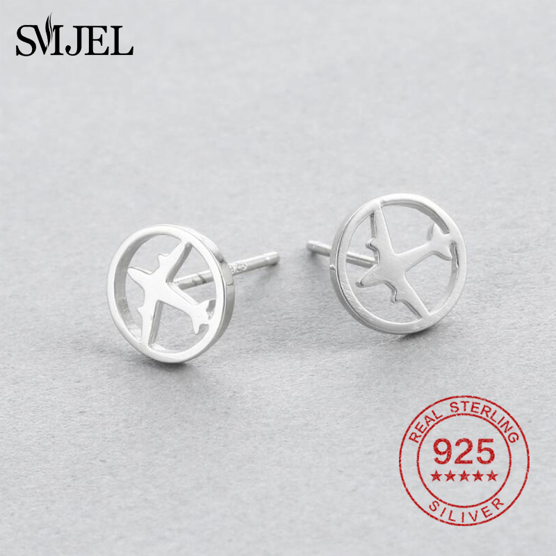SMJEL Punk Airplane Stud Earring 925 Sterling Silver Circle Pendant Earrings For Women Men Kpop Earrings Silver Jewelry Brincos image
