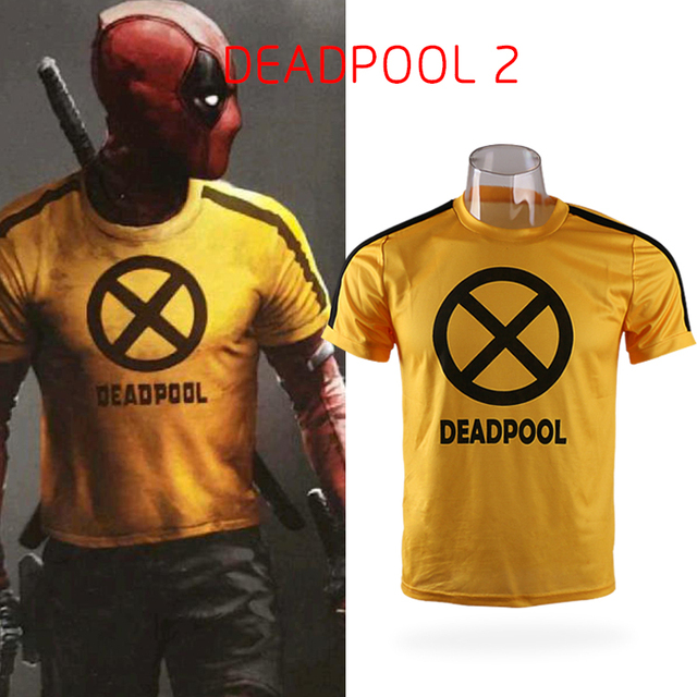 951e79a6 2018 Movie Deadpool 2 Superhero X-Force Yellow Slim Short Short Sleeve  Cosplay Mens T-shirts Tee Shirts Costume Halloween