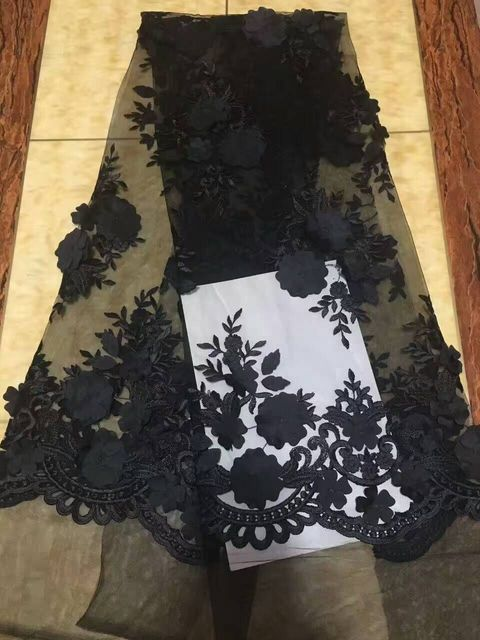 3 D Fabric Flowers Black Embroidery French Lace Beautiful Fabrics