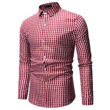 2019 New Plaid Shirt Mens  Summer Spring Fashion Business Long Sleeve