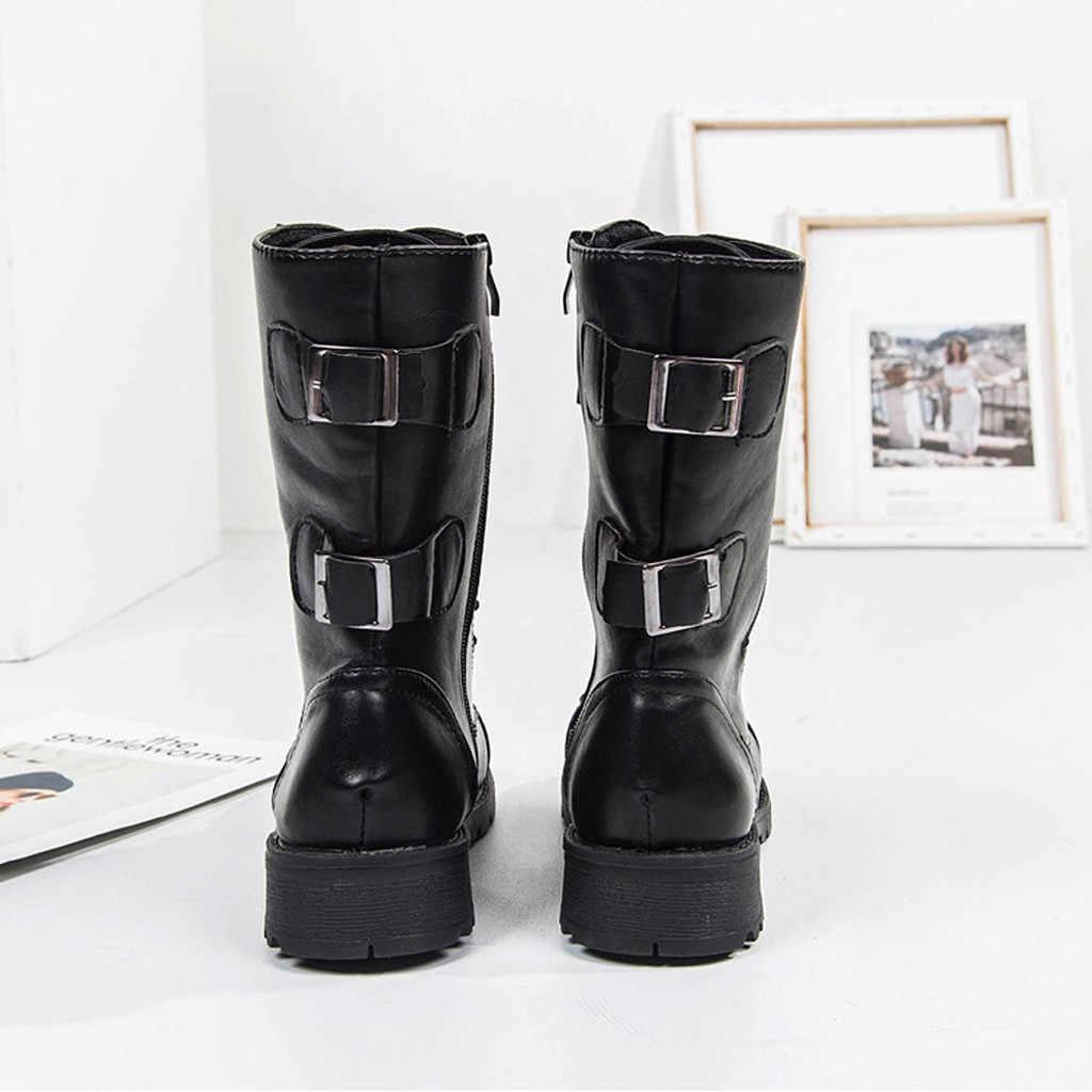 Riding Equestrian Boots Women Ladies Roman Cowboy Half Boots Zipper Mid-Calf Martin Short Boots Shoes Woman Botines Mujer 2019