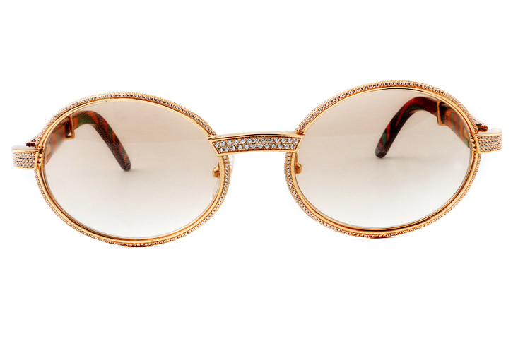 Cartier 55-22 Full Diamond Peacock Wood Gold Frame Brown Round Lens (2)