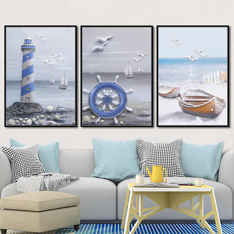 Fashion Poster Bird Sailboat Shell Lighthouse Seascape Pictures Nordic Canvas Wall Art Prints Animals Painting Living Room Decor