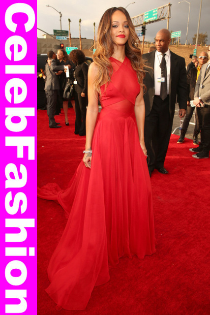 The 55th Annual GRAMMY Awards Rihanna Sexy Halter Neck Red ...