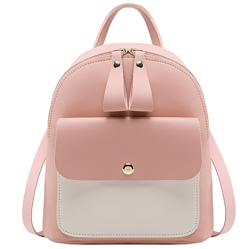 Duopindun Bolsa Feminina Women Girls Mini Faux Leather Backpack Rucksack School Bag Travel Patchwork Style Hot Selling