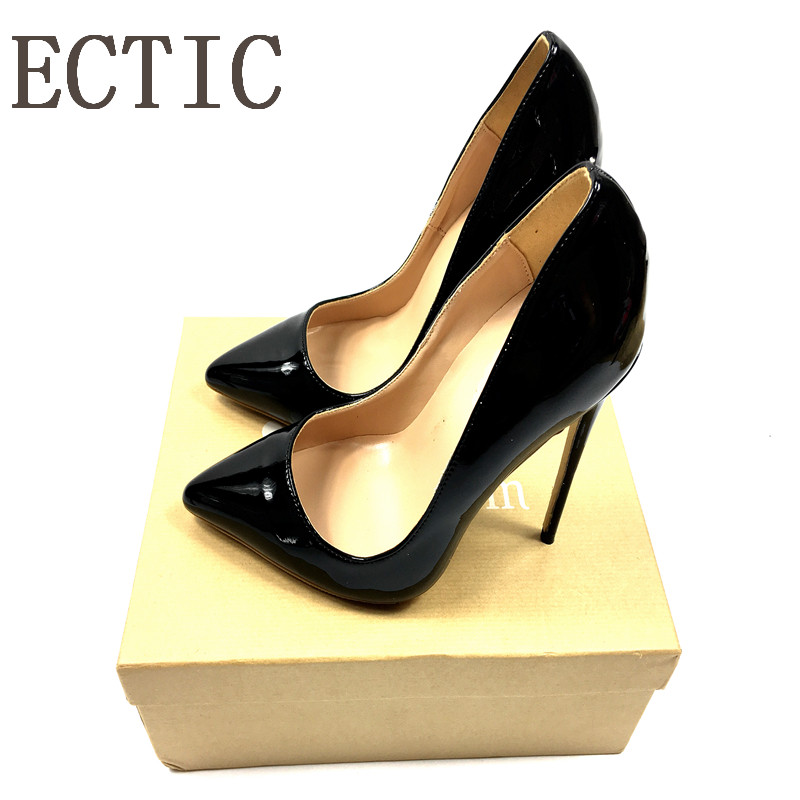 Brand Sexy Rivets Shiny Patent Leather High Heels Nude Pointed toe Pumps Shoes Party Shoes Women Stiletto High heel Pumps fashion brand name women high heels shoes patent leather pointed toe slip on footwear chunky heel party wedding lady pumps nude