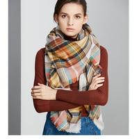 ZA Winter Scarf Plaid New Designer Unisex Acrylic Basic Wrap Shawl Women Female Fall Cashmere Christmas
