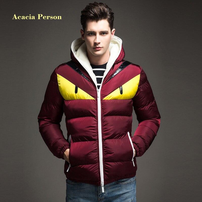 2018 Новая модная дизайнерская мужская зимняя куртка с контрастным хлопковым подкладом и большим глазом, пуховое пальто с капюшоном, Veste Homme Hiver