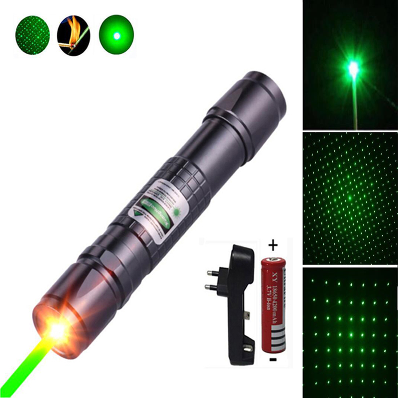 High Power green Laser Pointer hunting lazer tactical Laser sight Pen 532 nm 5mW 303 Burning laserpen +charger+18650 Battery