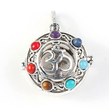 Kraft-beads Unique Silver Plated 3D Symbol with Colorful Beads Stone Chakra Pendant For Anniversary Jewelry