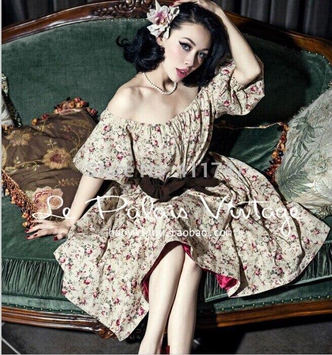 Le palais vintage 50 s Vintage rétro Floral Mince Taille Robe avec Manches Bouffantes haute rue femmes robes de printemps personnalisé