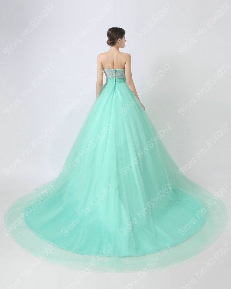 Real Photos Beautiful Beading Mint Court Train Quinceanera Dresses ...