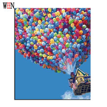 WEEN Balloon Pictures Painting By Number On Canvas DIY Digital Color Landscape Coloring 40 x 50 cm 2017 Gift