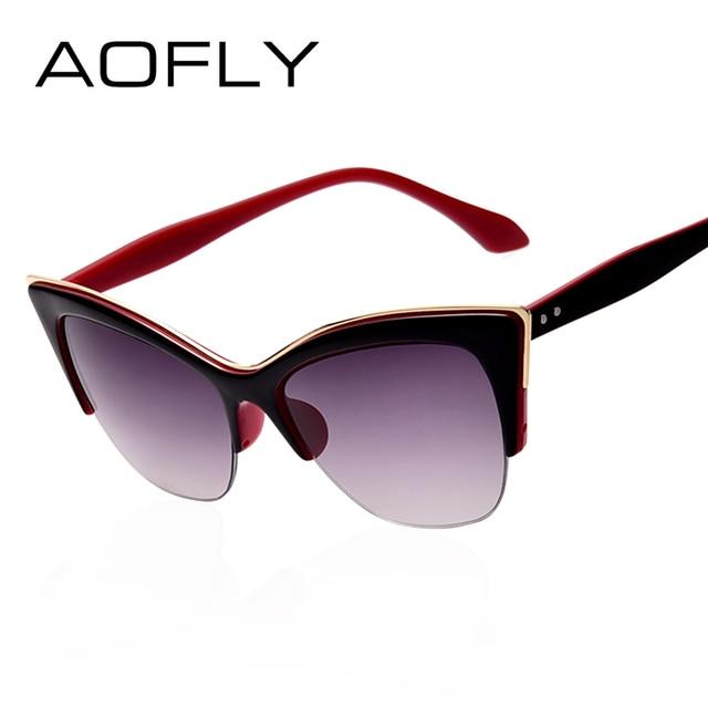 AOFLY Fashion Cat Eye Sunglasses Women Brand Designer vintage sun glasses Women Fashion Eyeglasses high quality eyewear oculos 1