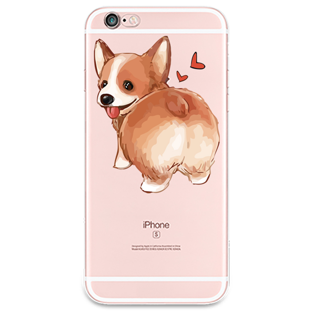 Corgi pattern Style Soft Phone Cases White for phone 6 6s plus 5 5s 5c 4 4s
