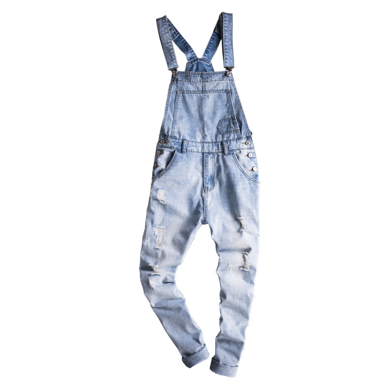 New Male Suspenders New Casual Light Blue Denim Overalls Ripped Jeans Pockets Men's Bib Jeans Boyfriend Jumpsuits male denim overalls front pockets hole ripped bib jeans blue suspenders trousers or01