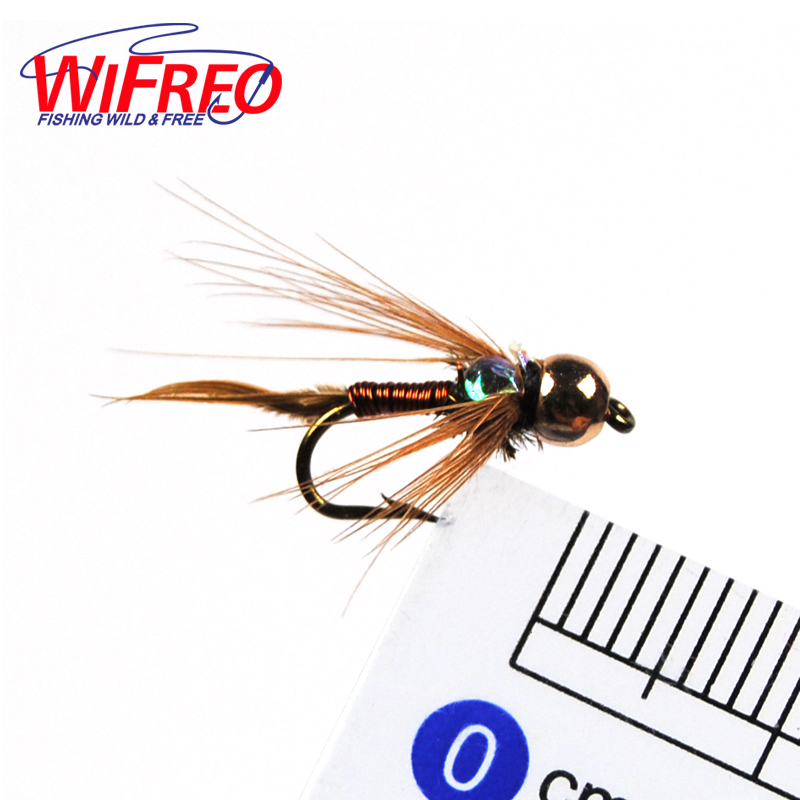10pcs 12 wifreo copper john fly brass head nymph stone for Fly fishing lures