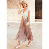 Elegant V neck Cap Sleeve Lace Mother of The Bride Dress Two Colors Women Tea Length Chiffon Groom Mother Gowns