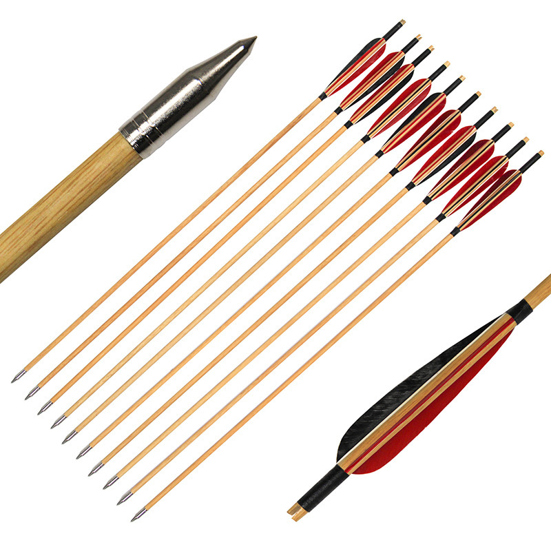 32 inch Wooden Archery Arrows for Shooting Hunting Traditional Handmade Turkey Feather Arrows for Longbow Compound Recurve Bow 12 pk wooden arrows turkey zebra patton feather wood shaft archery recurve bow longbow