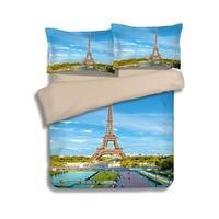 باريس برج ايفل مشهد ثلاثية الأبعاد طقم سرير واحد التوأم كامل الملكة الملك الحجم لحاف/حاف الغطاء 3 قطعة بياضات سرير الكبار الأخضر الأزرق
