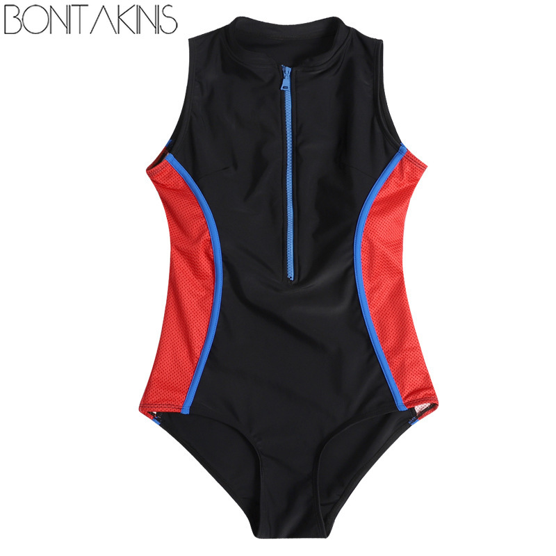 Bonitakinis Sportswear Women Conservative Slim Students Sport Professional Competition Swimwear One Piece Swimsuits