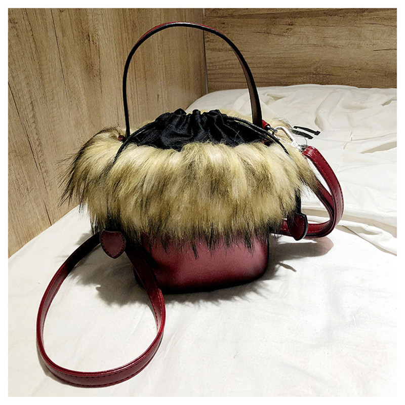 Black PU Leather Messenger Bags Faux Fur Women Handbag Bolsa Female Bucket Shoulder Bags Ladies Tote Handbags Purses