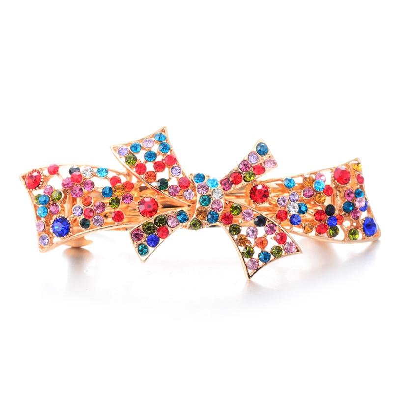 Gold Color Hair Clip Wedding Hair Accessories Rhinestone Crystal Bow-knot Barrettes Hair Ornaments Women Girls Hair Jewelry Hot