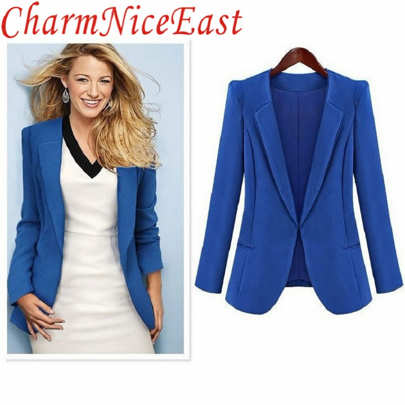 Plus 4XL Size Womens Business Blazer Spring Autumn Solid color women Blazer Jackets Short Slim long-sleeve blue black Blazer