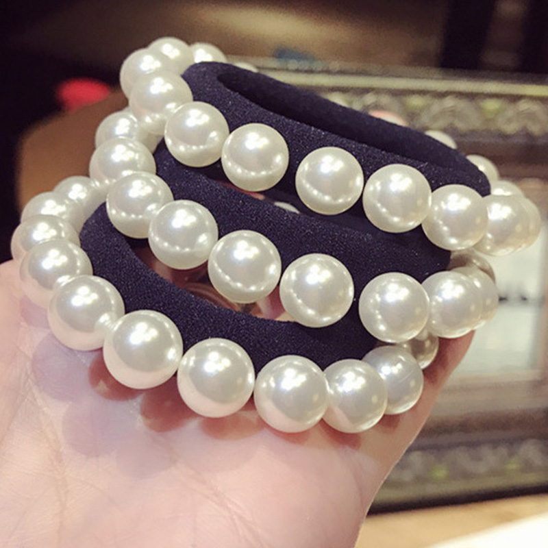 1PC New Fashion Girl Elastic Hair Band Pearl Black Hair Rope Elegance Women Hair Accessories Rubber Band Ponytail Holder Tie Gum