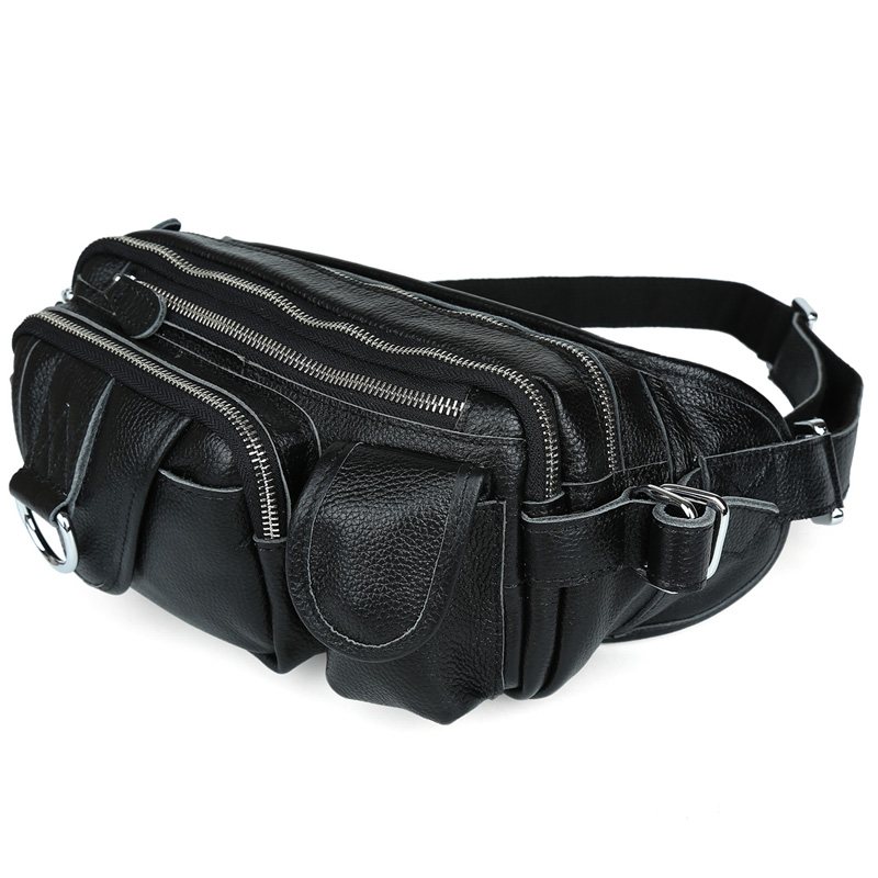 TIDING Genuine Leather Waist Packs with Multi-pocket Top quality Fashion Fanny Bag Bum Bag D156 zipper pocket bum bag