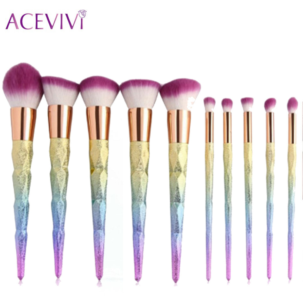 ACEVIVI 10Pcs Profession Powder Cosmetic Makeup Brushes Foundation Lip Eyeliner Brush Make Up Brushes Bulsh Tool Sets acevivi 4pcs sponge