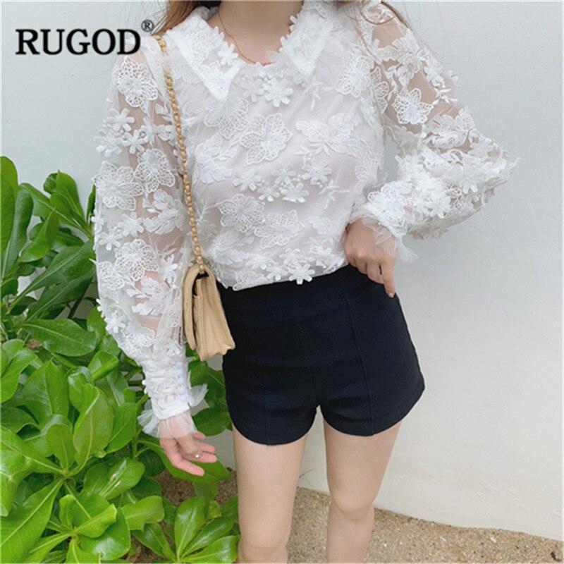 RUGOD femmes élégantes blouses dentelle évider lanterne manches col claudine patchwork mode style coréen modis femme hauts