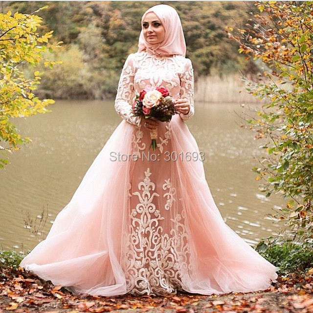 Oumeiya OW540 Pink Tulle Beaded Embroidery High Neck Long Sleeve ...