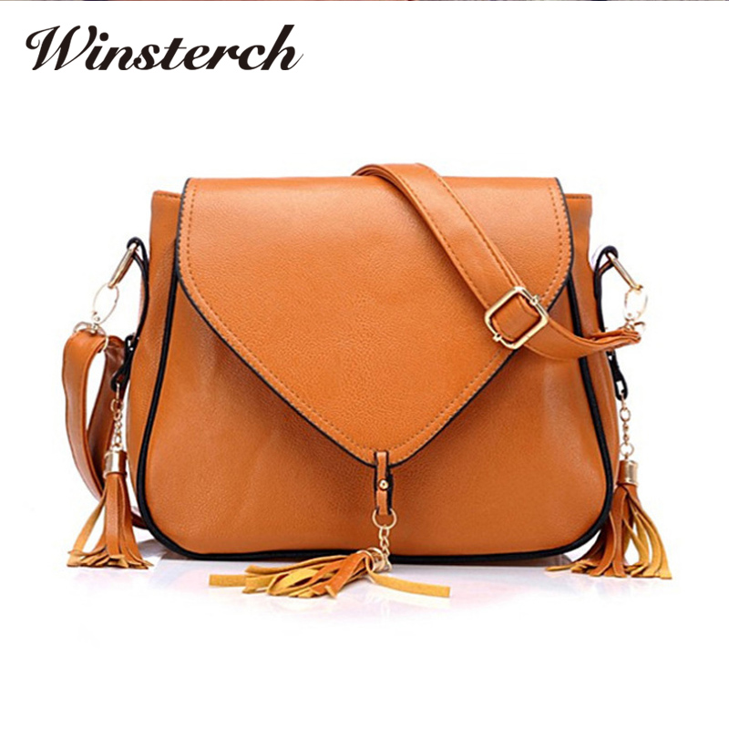 2017 Women Bag Leather Handbags Tassel Designer Ladies Cross Body Shoulder Bags for women Fashion Messenger Bag bolsas S0170