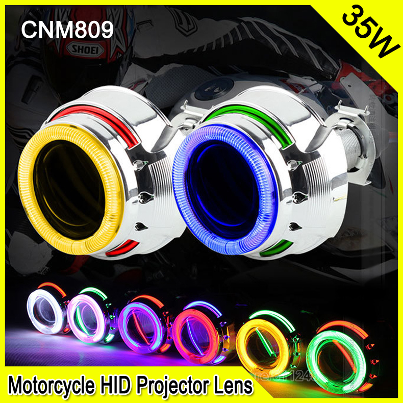 CNM809 2.0 Inch 35W Car & Motorcycle H1 H4 H7 Bi-xenon HID Projector Lens Car DRL Fog Headlight With Double CCFL Angel Eyes royalin car styling hid h1 bi xenon headlight projector lens 3 0 inch full metal w 360 devil eyes red blue for h4 h7 auto light