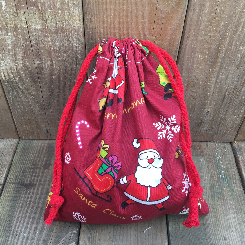YILE 1pc Cotton Twill Drawstring Party Gift Bag Christmas Theme Santa Claus Red N830a