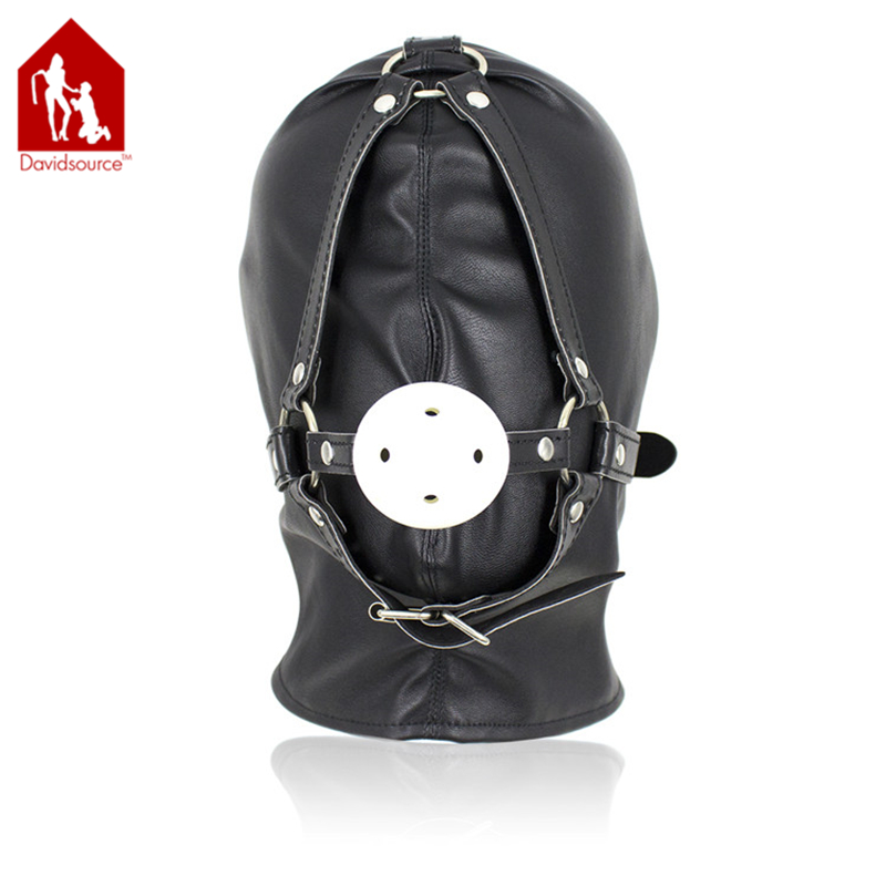 Davidsource Lace Up Sealed Leather Hood With Wiffle Ball Gag Sub Slave Pup Head -6257
