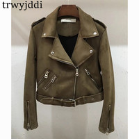 2018 Europe New Fashion Women Coats Autunm Winter Jackets Suede Short Jacket Lady Bomber Motorcycle Cool