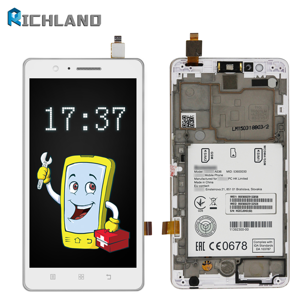 100 Tested Original For Lenovo A536 LCD Display With Touch Screen Digitizer Assembly With Frame For