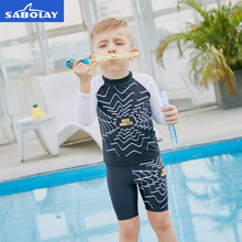 SABOLAY 2-8 Years Elastic Long Sleeve Boys Swimwear Set Patchwork Kids Swimsuit Separate Sun Protection Beach Swimming Clothing