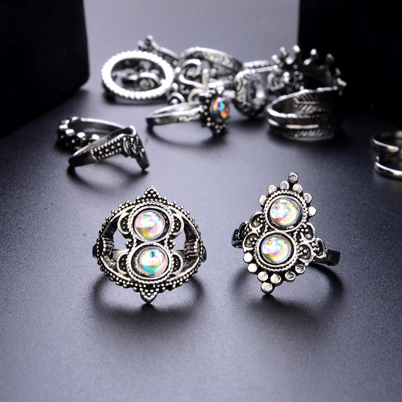 16 Pcs/set Women Bohemian Vintage Crown Wave Flower Heart Leaf Crystal Opal Joint Ring Party Silver Color Ring Set