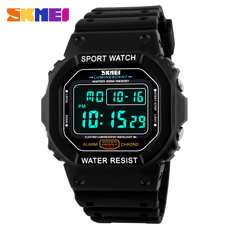 Digital Retro Sports Watch LED Light Stopwatch