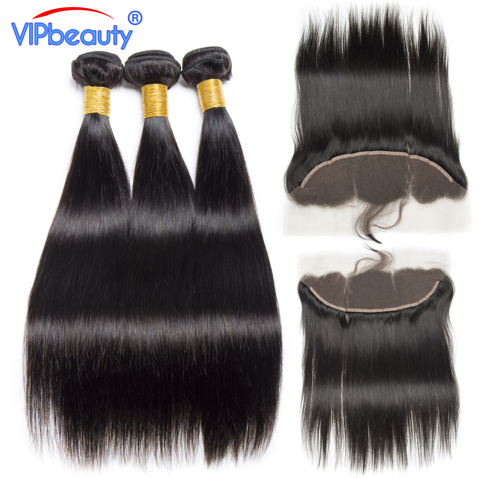 Vip Beauty Malaysian Straight Hair 13x4 Lace Frontal Closure With Bundles Pre plucked Non Remy Hair