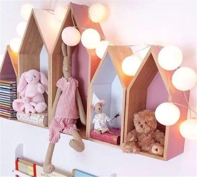 INS Nordic Style Original Wood House Storage Shelf Children Room Wood House Clapboard Shelves Wall Craft