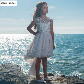 Beach Short Pageant Dresses For Girls O-Neck Flower Girl Dresses 2019 Cap Sleeve Appliques Beading Communion Dresses фото