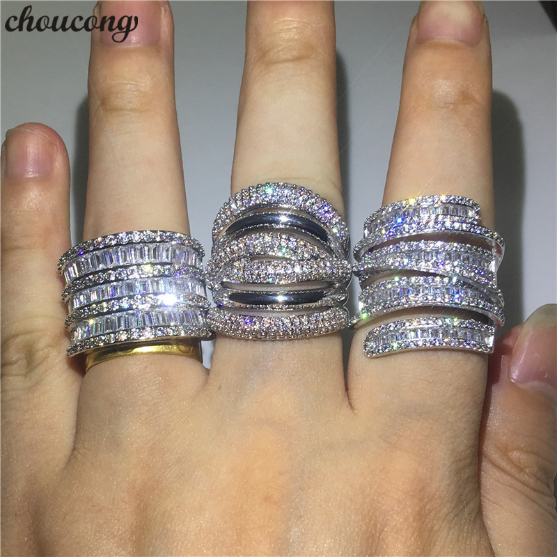 Choucong 3 Styles Big Promise Ring 925 Sterling Silver AAAAA Zircon Engagement Wedding Band Rings For Women Men Finger Jewelry