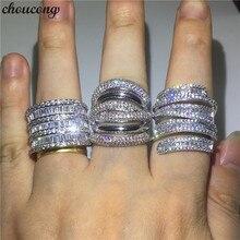 Choucong 3 스타일 큰 약속 반지 925 스털링 실버 AAAAA 지르콘 약혼 웨딩 밴드 반지 여성 남성 손가락 쥬얼리