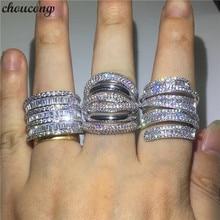 Choucong anillo de compromiso de circonia AAAAA para hombre y mujer, 3 estilos diferentes, Plata de Ley 925, boda, joyería para el dedo