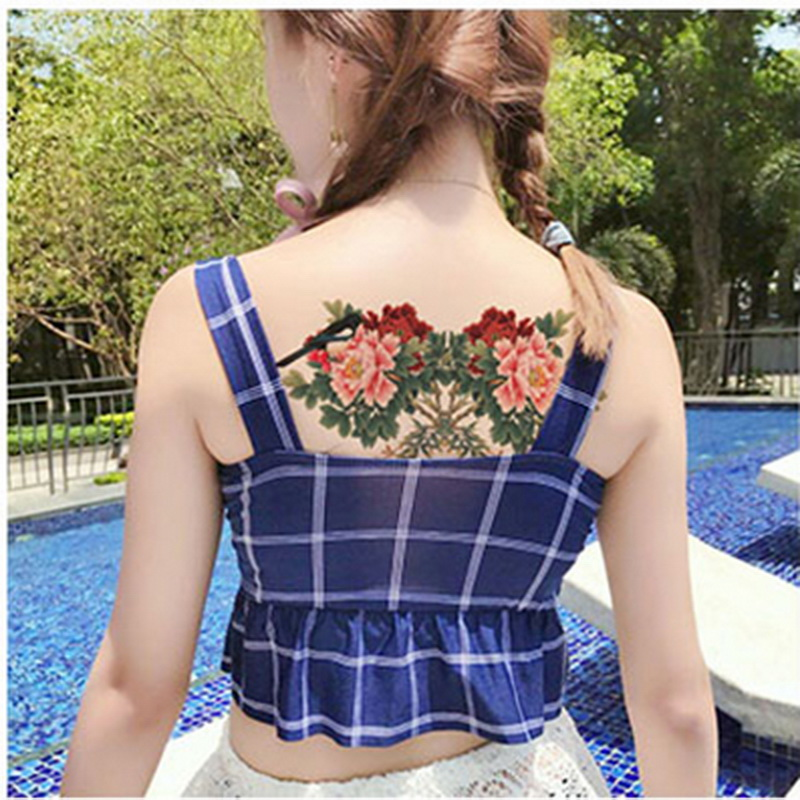 New designs Chest Flash Tattoo large rose flower dragonfly shoulder arm Sternum tattoos henna body/back paint Under breast skull 3